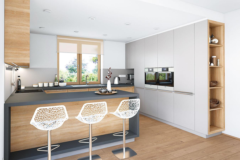 V kuchyni nechceli keramickú dlažbu, a tak sa nakoniec v celom interiéri použila laminátová podlaha s dekorom svetlého dreva, čo prispieva k jeho celistvosti.