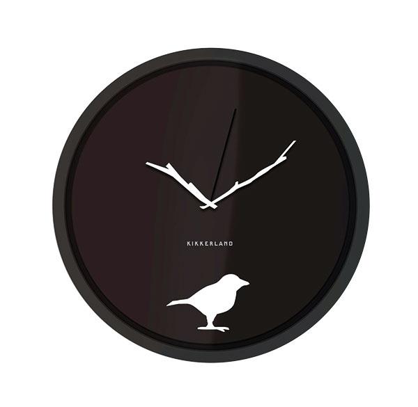 Nástenné hodiny Kikkerland Bird Silhouette, 20 × 20 × 4 cm, 13,95 €, www.zoot.sk