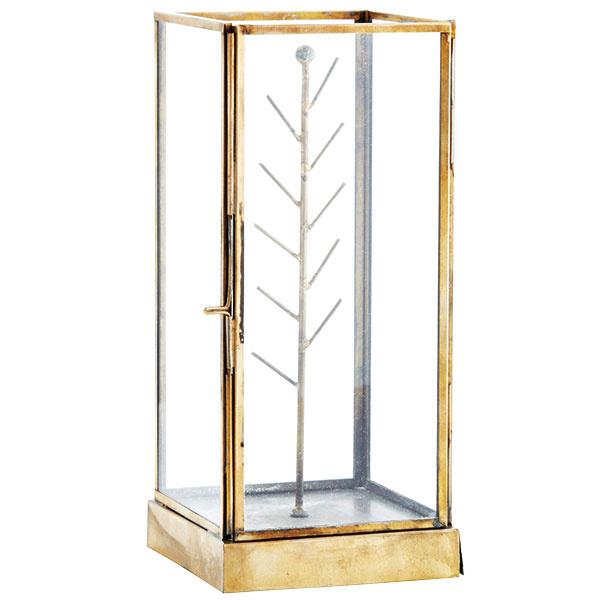 """Stojan na šperky Glass box od značky Madam Stoltz vmosadznom """"antik"""" vyhotovení, 10 × 10 × 22,5 cm, 30 €, www.nordicday.sk"""