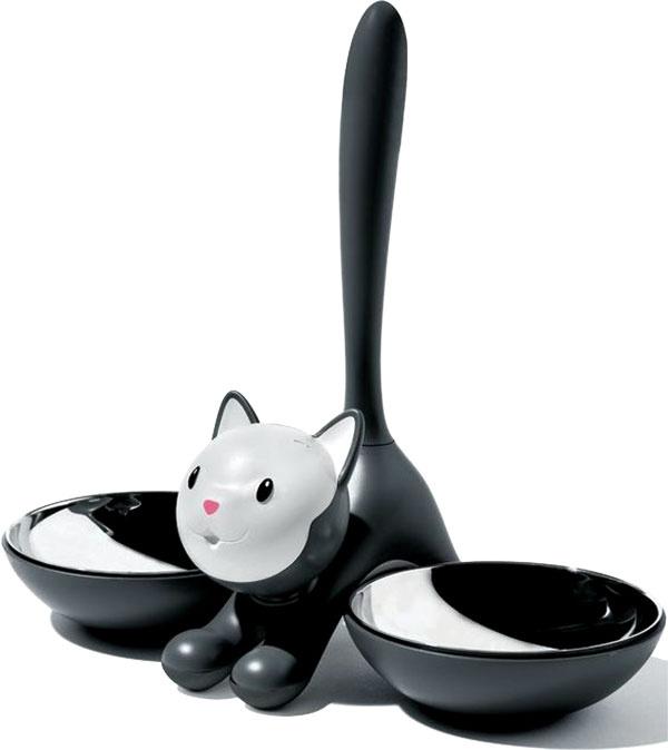 Misky pre mačky Tigrito od značky Alessi, kombinácia plastu aantikora, 32 × 28 × 16 cm, 71 €, www.designpropaganda.com