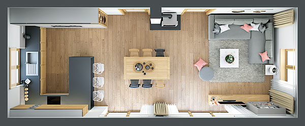 Drevený stôl dopĺňa šestica stoličiek, no v prípade potreby dobre poslúži aj ôsmim. Polovica stoličiek sa nesie v inej farebnosti, čo predstavuje zaujímavý akcent.