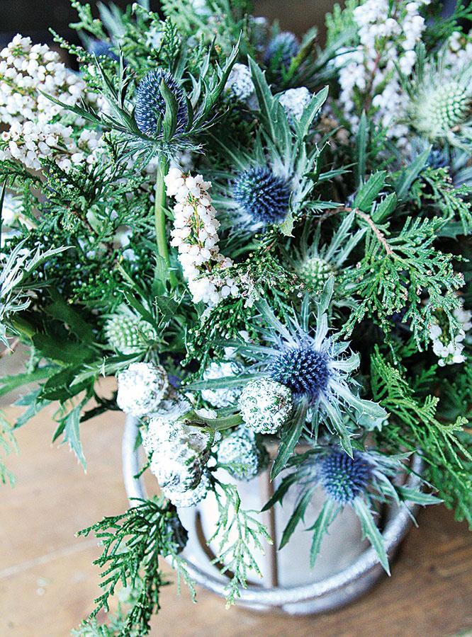 V striebornej nádobe so zadymeným sklom najlepšiu vyniknú rastliny v odtieňoch bielej, sivej a zelenej. Zaujímavú voľbu predstavuje spojenie plodov eukalyptu (Eucalyptus), vetvičiek tuje (Thuja), kvetov vresovca (Erica) a kotúča (Eryngium).
