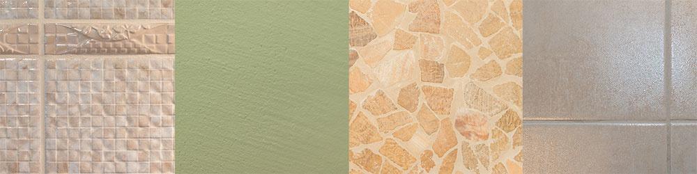 Obklad: Oceanis, zn. Venus, cappuccino a light cappuccino, perleť, 25,2 × 40,4 cm, 14,79 €/m2; listela Oceanis cappuccino, 4,79 €/ks, Siko  Stena: základ – biela interiérová farba + tmavozelená a čierna tónovacia farba Hetcolor  Podlaha v sprchovacom kúte: kamenná mozaika Mistica, zn. Premium Mosaic Stone, 36,29 €/m2, Siko  Podlaha v kúpeľni: Concept, 45 × 45 cm, 15 €/m2, RAKO