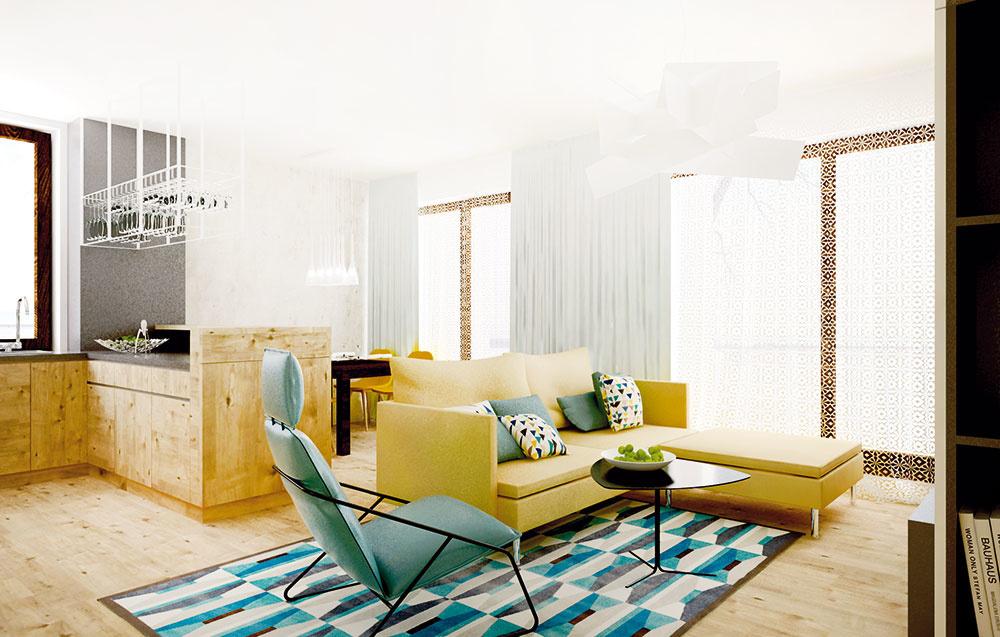 Vzorovaný koberec a vankúše s podobným motívom obývaciu izbu dynamizujú. Tenké kovové konštrukcie kresielka a konferenčného stolíka spolu zase príjemne harmonizujú.