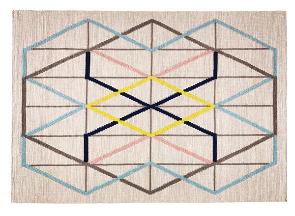 Viacfarebný hladko tkaný vlnený koberec PS 2014, 128 × 180 cm, 129 €, IKEA