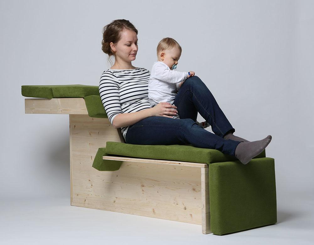 Multifunkčná polohovacia stolička navrhnutá Veronikou Kotradyovou