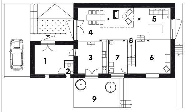 2.  podlažie  (Úroveň 2 a3) 1 vstup/predsieň 2 toaleta 3 kuchyňa 4 jedáleň 5 obývacia izba skozubom 6 herňa pre deti 7 kúpeľňa/technická miestnosť 8 schodisko 9 terasa