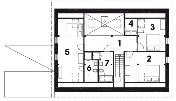 3.  podlažie  (Úroveň 4) 1 chodba + schodisko 2 spálňa 3 spálňa 4 spací kút 5 spálňa 6 kúpeľňa 7 kúpeľňa