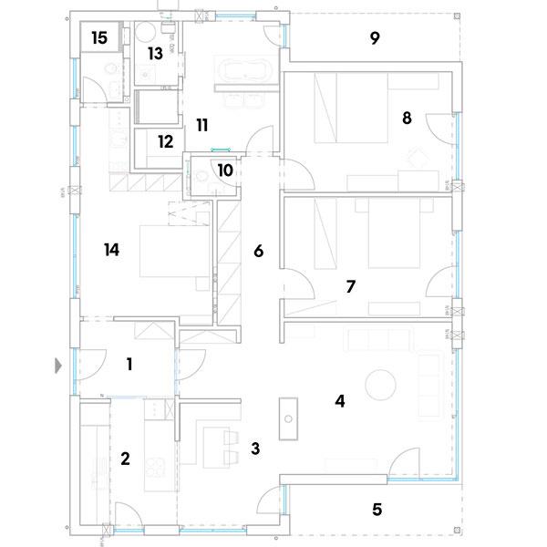 1 vstup/predsieň 2 kuchyňa 3 jedáleň 4 obývačka 5 terasa 6 chodba/šatník 7 spálňa 8 spálňa 9 terasa 10 WC 11 kúpeľňa 12 sauna 13 technická miestnosť 14 byt pre seniora 15 kúpeľňa + WC