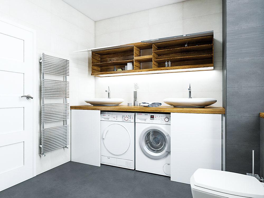 Práčka asušička sú šikovne ukryté pod umývadlami za posuvnými dvierkami. Výška umývadla je preto vtomto prípade oniečo viac ako bežných 90 cm.