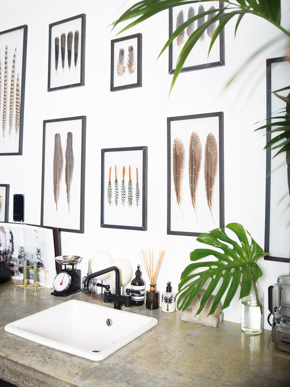 Bielu stenu Charlotta oživila obrazmi zarámovaných vtáčích pierok.