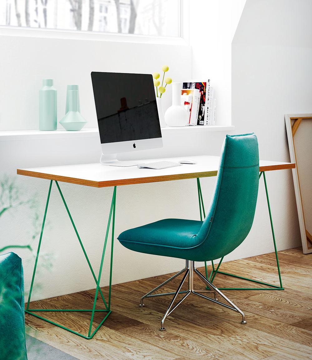 NAJMÄ V MENŠÍCH PRIESTOROCH oceníte nábytok, ktorý pôsobí ľahko a vzdušne. Dobrú voľbu preto predstavujú stoly so subtílnou oceľovou podnožou. Pracovný stôl so zelenou podnožou Flow od značky TemaHome kúpite na www.bonami.sk.