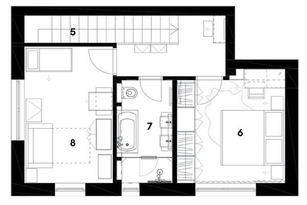 Pôdorys poschodia 5 schodisko 6 spálňa 7 kúpeľňa 8 detská izba