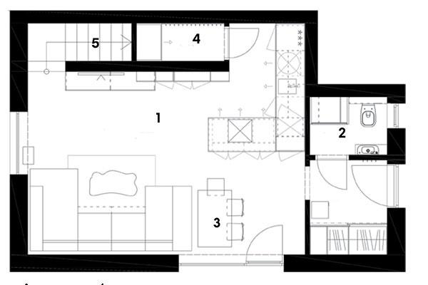 Pôdorys prízemia 1 predsieň 2 WC + technická miestnosť 3 obývačka + kuchyňa 4 špajza 5 schodisko