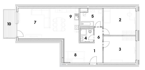 trojizbový byt 1 predsieň 2 izba 3 izba 4 kúpeľňa 5 kúpeľňa 6 chodba 7 obývačka sjedálňou 8 šatník 9 kuchynský kút 10 balkón