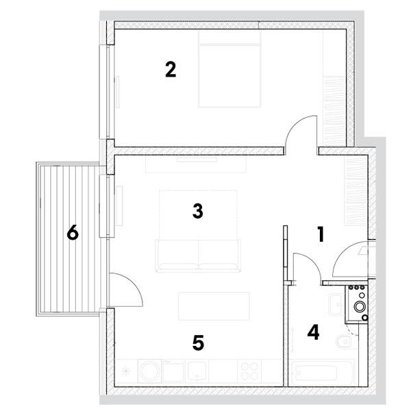 dvojizbový byt 1 predsieň 2 izba 3 obývačka 4 kúpeľňa + WC 5 kuchynský kút sjedálňou 6 balkón