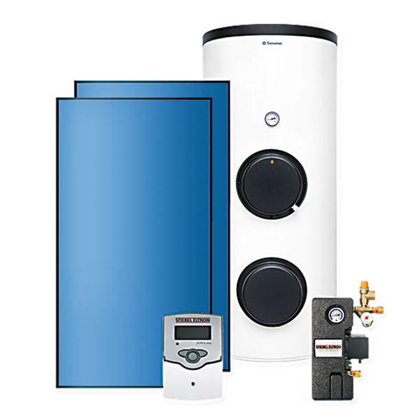 SOL 300 TM Solárna zostava supevňovacím systémom na škridlovú strechu pozostáva z2 ks plochých kolektorov SOL 27 basic STIEBEL ELTRON, zásobníka VTS 300/3 TATRAMAT aďalšieho príslušenstva. Trojvalentný zásobník vody je vybavený solárnym výmenníkom tepla, výmenníkom tepla pre ústredné kúrenie aelektrickým ohrievacím telesom. www.tatramat.sk