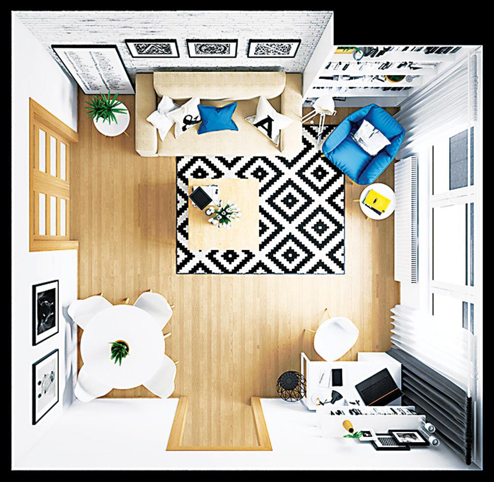 Obývačka plní úlohu jedálne aj pracovne, pôsobí však mimoriadne vzdušne.