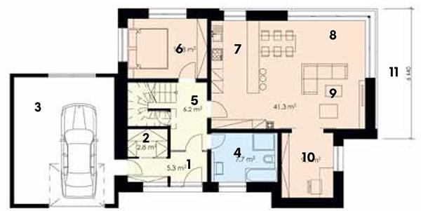 1. nadzemné podlažie  1 vstup do domu 2 šatník 3 garáž 4 kúpeľňa s WC 5 schodisko 6 spálňa 7 kuchyňa 8 jedáleň 9 obývacia izba 10 pracovňa 11 terasa