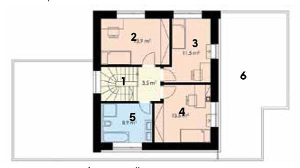 2. nadzemné podlažie  1 schodisko 2 izba 3 izba 4 izba 5 kúpeľňa s WC 6 terasa