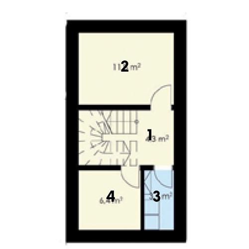 1. podzemné podlažie  1 schodisko 2 vínna pivnica + sauna 3 technická miestnosť + práčovňa 4 dielňa + sklad