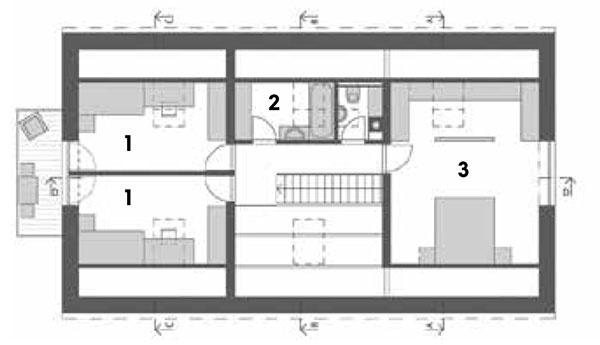 Podkrovie 1 detská izba rozdelená na dve časti 2 kúpeľňa 3 WC 4 spálňa