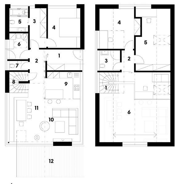 prízemie 1 zádverie 2 chodba 3 šatňa 4 spálňa 5 kúpeľňa 6 technická miestnosť 7 toaleta 8 schodisko + komora 9 kuchyňa 10 obývacia izba 11 jedáleň 12 terasa  poschodie 1 schodisko 2 chodba 3 kúpeľňa 4 detská izba 5 detská izba 6 galéria/pracovňa/hosťovská izba