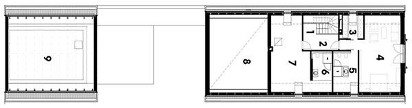 podkrovie 1 schodisko 2 chodba 3 šatník 4 izba 5 kúpeľňa 6 kúpeľňa 7 izba 8 priehľad do prízemia 9 strecha