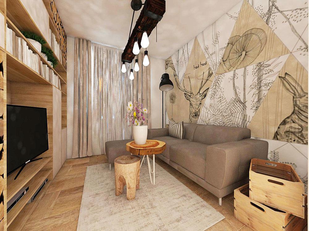 ZVIERACIE ARASTLINNÉ vzory vkombinácii sdrevom atlmenými farbami prinesú do každej obývačky kus prírody. Návrh bytu vprírodnom štýle od interiérových dizajnérok z ateliéru Live In.
