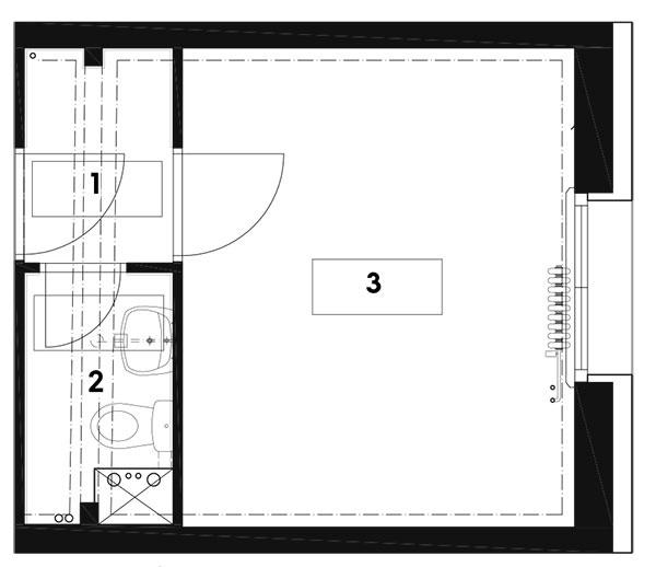 Pôvodný stav 1 chodba 2 kúpeľňa 3 izba