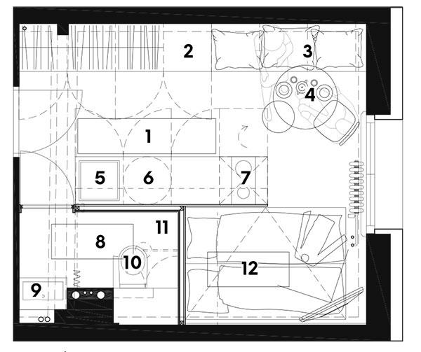 Nový stav 1 obytná kuchyňa (9,82 m2) 2 chladnička 3 sedenie 4 jedálenský stôl 5 drez 6 práčka 7 sporák 8 kúpeľňa (2,47 m2) 9 umývadlo 10 WC 11 sprcha 12 spálňa (3,18 m2)