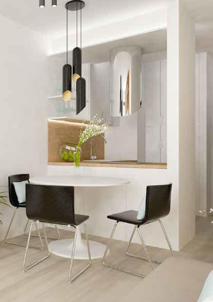 Okrúhly jedálenský stôl so zaujímavou podnožou priestor zjemňuje.