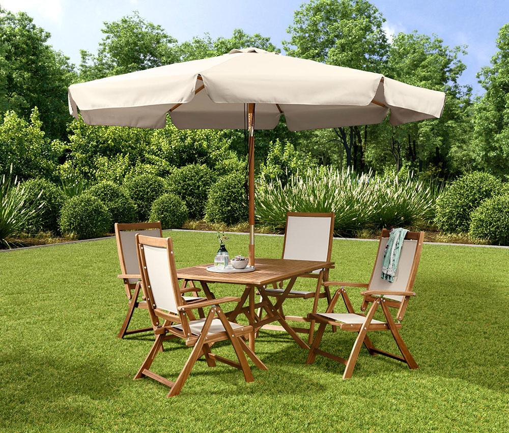 Extraveľký slnečník zaisťuje dokonalú ochranu pred slnkom v záhrade či na terase. Strieška sa dá nastaviť do troch polôh advojitý lankový mechanizmus umožňuje jeho pohodlné otváranie. Slnečník má stabilnú drevenú konštrukciu, tyč a lúče sú zolejovaného a lakovaného masívneho dreva. Textilný povrch má ochranu proti UV žiareniu sfaktorom približne 80, navyše odpudzuje vodu a nečistoty. Výška tyče je približne 2,5m apriemer slnečníka sú 3 m.
