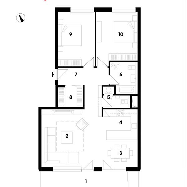 1 lodžia 2 obývačka 3 jedáleň 4 kuchyňa 5 WC 6 kúpeľňa 7 chodba 8 šatník 9 spálňa 10 spálňa
