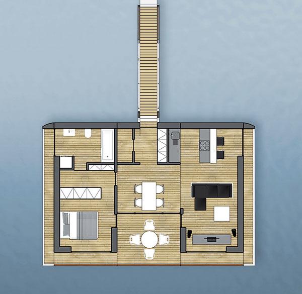 Príklad riešenia objektu PORT X z troch segmentov s dispozíciou 2 + KK (úžitková plocha 50,5 m2 + terasa 22,1 m2)