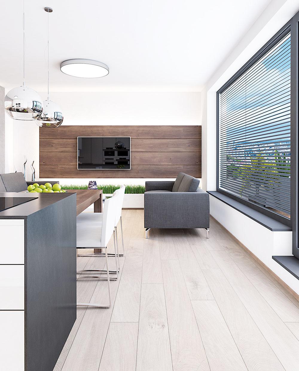 Svetlý dekor dreva na podlahe predstavuje tvárny základ interiéru.