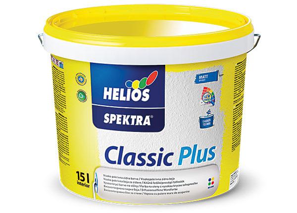 Helios Spektra Classic Plus  Nová a vylepšená receptúra je zárukou spokojnosti. Biela vnútorná farba na steny sa vyznačuje vysokou belosťou a vysokou krycou schopnosťou. Je matná, paropriepustná a vďaka novej receptúre ľahko aplikovateľná. Je odolná proti suchému oteru a vhodná na sanačné omietky a časté renovácie stien a stropov. Dostupná vo väčšom množstve farebných odtieňov. Odporúča sa riedenie vodou do 15 %. www.helios.sk