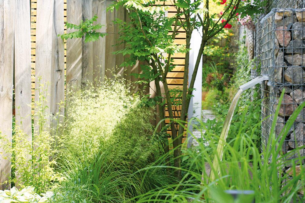 """Vodný prvok oživil stroho pôsobiaci plot. Zároveň vytvára aj zaujímavú zvukovú kulisu a odčleňuje záhradu od pomerne rušnej ulice. """"Voda je mimoriadne silný element, ktorý na seba strhne pozornosť,"""" hovorí Ferdinand Leffler z Atelieru Flera."""