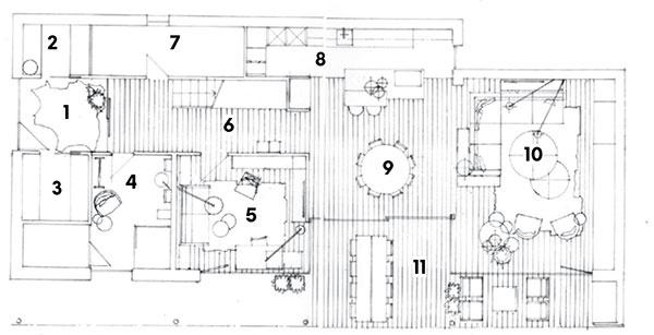 Prízemie 1 predsieň 2 šatník 3 kúpeľňa 4 wellness a sauna 5 pracovňa 6 chodba so schodiskom 7 technická miestnosť 8 kuchyňa 9 jedáleň 10 obývačka 11 terasa