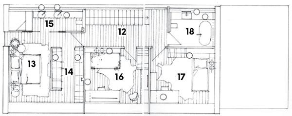 Poschodie 12 chodba so schodiskom 13 spálňa 14 šatník 15 kúpeľňa 16 spálňa 17 spálňa 18 kúpeľňa