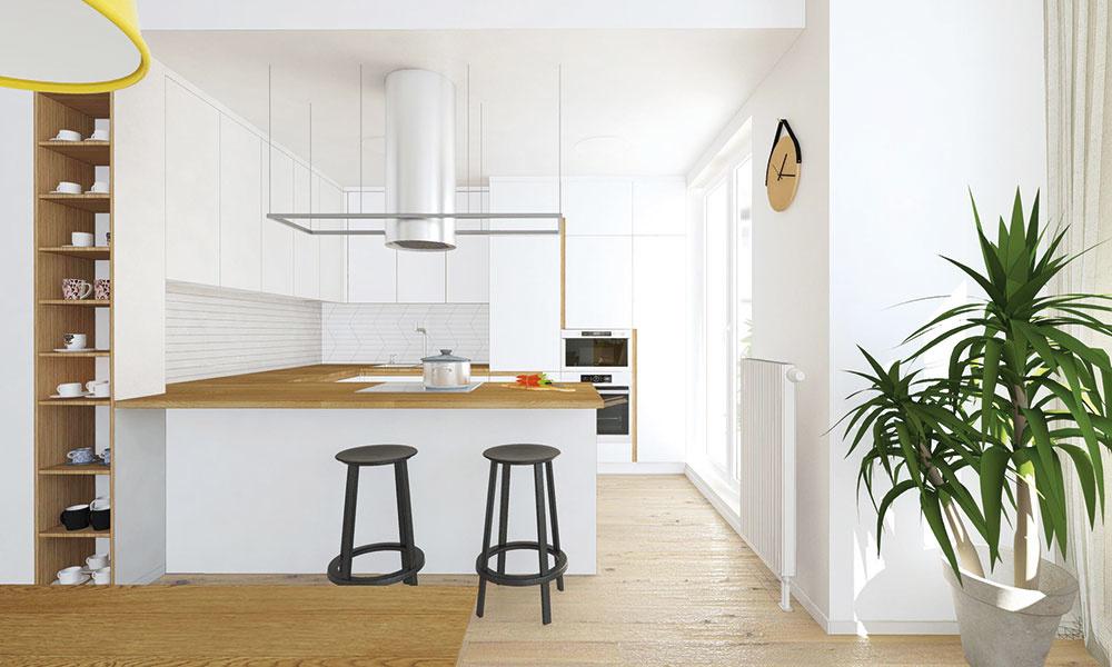 Menšia minimalistická kuchyňa v tvare písmena U maximálne využíva možnosti daného priestoru – skrinky preto siahajú až po strop.