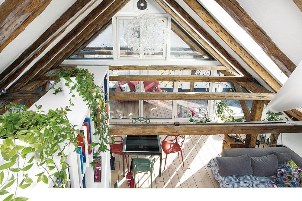 Pod strechou starej stodoly vzniklo podkrovné bývanie s podmanivou atmosférou. V spodnej časti vysokého priestoru je otvorená obývačka s jedálňou a kuchyňou, na galérii je situovaná pracovňa a hlavná spálňa s kúpeľňou, pod ktorými vznikol priestor na ďalšie izby a zázemie.