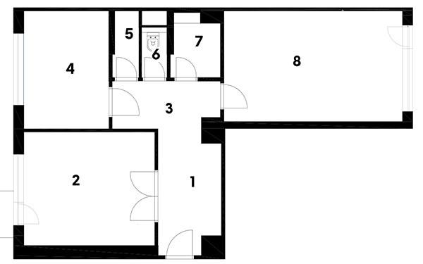 Pôvodný stav 1 predsieň 2 obývacia časť 3 jedáleň 4 kuchyňa 5 pracovňa 6 chodba 7 kúpeľňa s WC 8 spálňa 9 šatník
