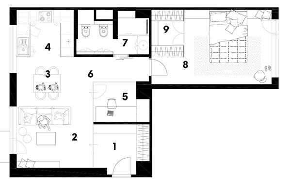 Po rekonštrukcii 1 predsieň 2 obývacia izba 3 chodba 4 kuchyňa 5 komora 6 WC 7 kúpeľňa 8 spálňa