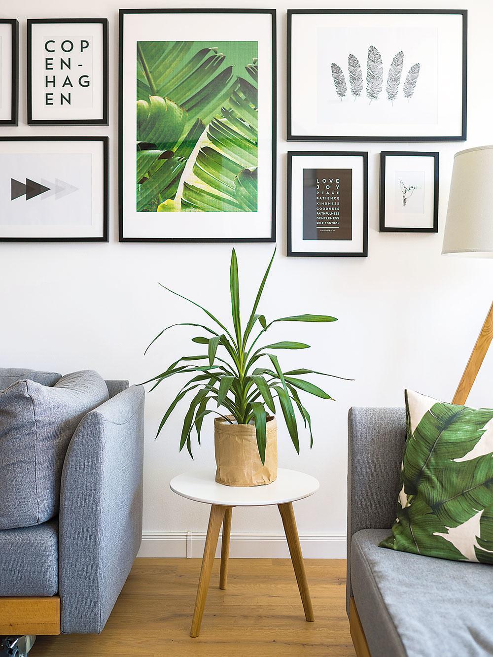 Rastlinný motív sa v dennej časti objavuje nielen v podobe živých rastlín, ale aj na textíliách a grafikách. Do priestoru vnáša oživujúco pôsobiacu zelenú farebnosť.