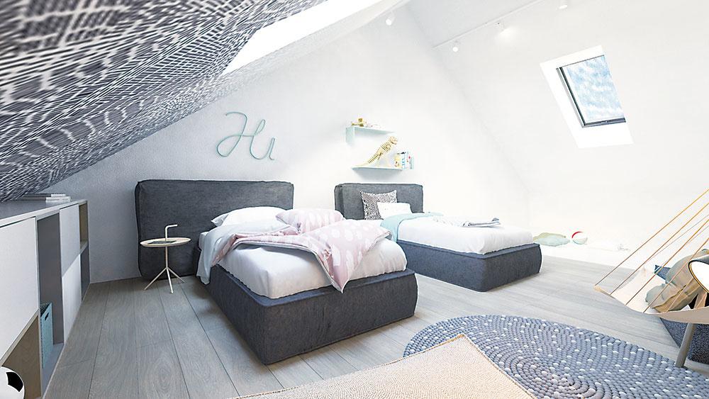 Šikminu nad posteľami dotvára vzorovaná tapeta, ktorá sa nesie v rovnakej farebnosti ako celé riešenie.