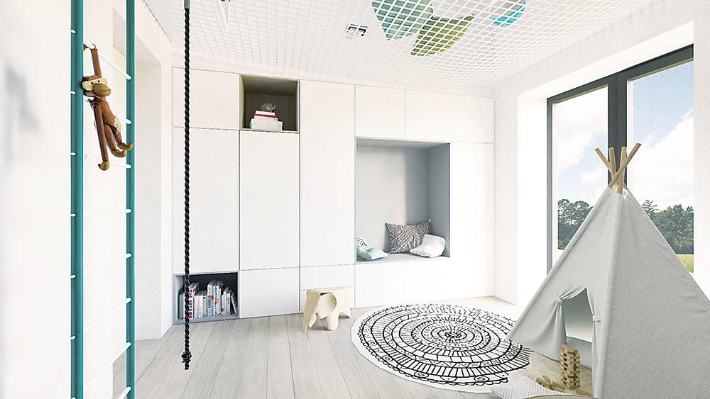 Detskej izbe dominuje biela farba doplnená svetlým dreveným dekorom a sivou, ktorá je príznačná pre typový nábytok.