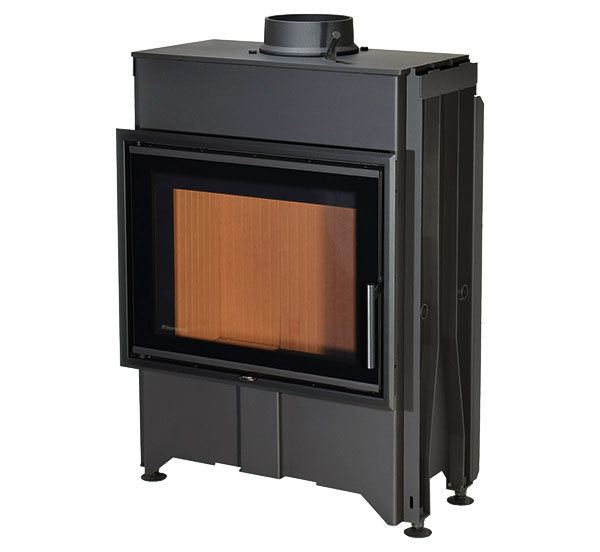 KOZUBOVÁ VLOŽKA Dynamic 2G 66.50.13 určená na konvekčnú aj akumulačnú prevádzku. Je vyrobená zo špeciálneho oceľového plechu COR-TEN, má trojité izolačné zasklenie dvierok, centrálny prívod vzduchu a dômyselný systém vedenia spalín DOUBLE SPIN. Hrdlo vložky umožňuje priamu montáž akumulačných prstencov. Rozmery 660 × 500 mm, cena 1 650 €. www.romotop.cz