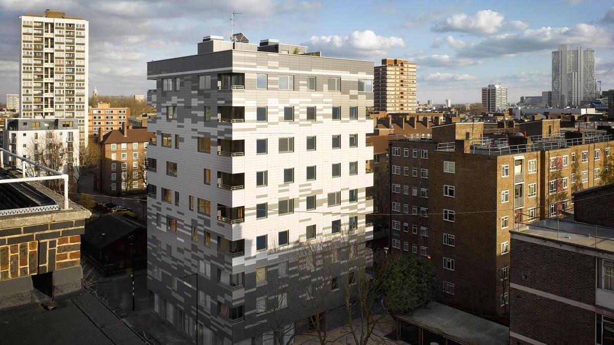 Murray Grove, Londýn, 9 poschodová budova vybudovaná z CLT profilov