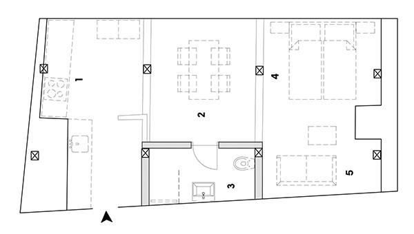 pôdorys  1 kuchyňa 2 jedáleň 3 kúpeľňa a WC 4 spálňa 5 obývačka